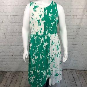Alfani Green & White Sleeveless Dress Plus Sz 16W